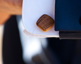 Irish Whiskey Barrel Wooden Cufflinks- Groom,groomsmen,5 year anniversary, birthday gift.