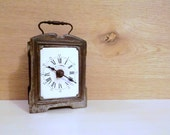 """Reserved for Mrs. YELENA    Antique French brass alarm clock, desk clock, """"D.H dèposè"""", first '900, collectibles for the home"""