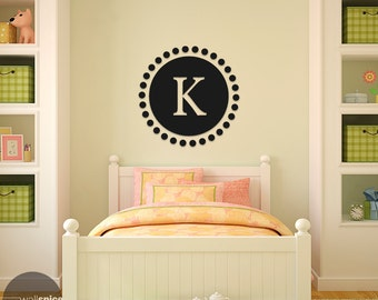 Single Letter Circle Monogram Vinyl Wall Decal Sticker