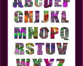 Personalised Alphabet Illustration Colourful Typography Monograms