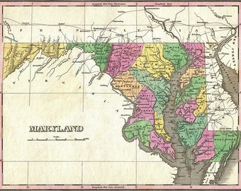 Maryland map (1827), scanned version of an old original map of the Maryland state, vintage download in high resolution - item no 146