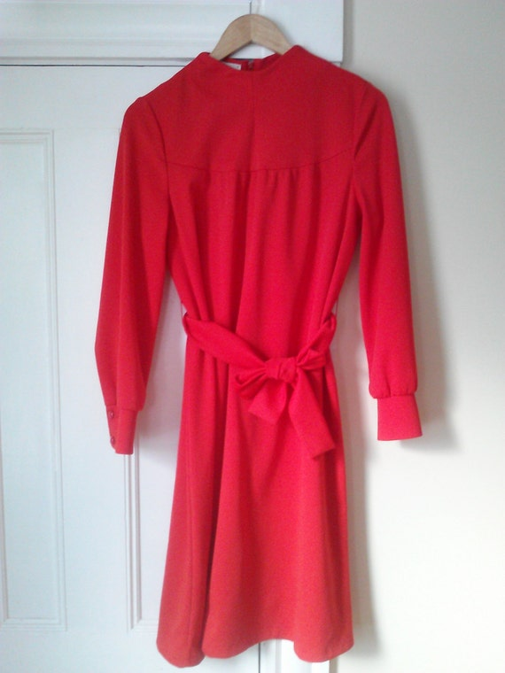 60's Vintage Red Tie Waist Dress / Women's Vintage 60's Vintage Red Tie Waist Dress / Women's Vintage Dress / Size 8/10 US / Union Made In USA - 웹