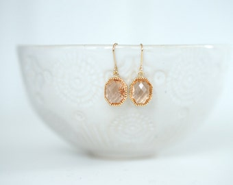 Light Peach and Gold Gem Earrings  | Bridesmaid Earrings | Wedding Jewelry