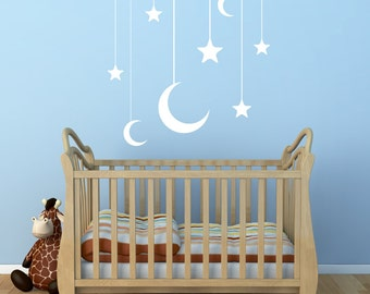 Nursery Room Wall Decal: Hanging Moon and Stars