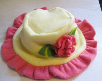 Child's Fleece Dreamy Hat, Pale Yellow and Pink With Attached Pink Fleece Flower With Green Fleece Leaves