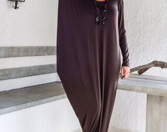Brown Maxi Dress / Brown Dress / Kaftan / Long Sleeve Dress /  Plus Size Dress / Winter Dress /Maxi Dress / Asymmetric Dress / #35050