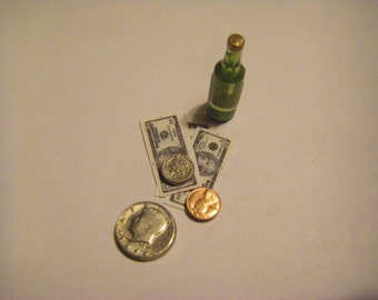 Bottle of Beer and  bills, coins, money  in 1/12 scale miniature