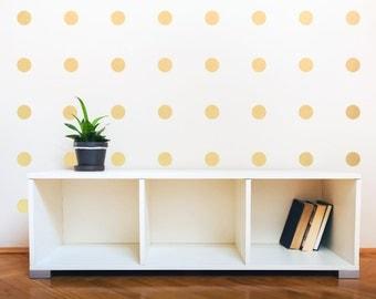 Gold polka dots wall decal nursery living room bedroom kid's playroom bathroom kitchen pattern wall decal