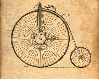 Patent Print of a Velocipede From 1881 - Patent Art Print - Patent Poster - Bike - Bicycle