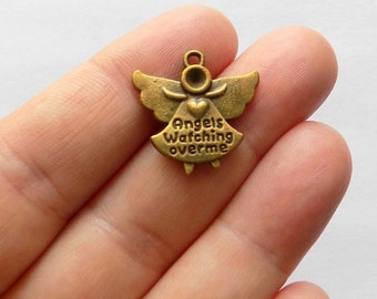 5 Antique Bronze Angels Watching Over Me Charms - #B0004