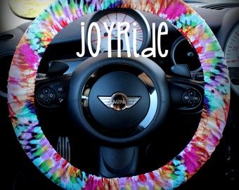 Steering Wheel Cover Tye Dye Rainbow- Cute Car Accessories Hippie Heated Gift for Girls Tie Dye Bohemian Keychain Christmas Favorite Rose