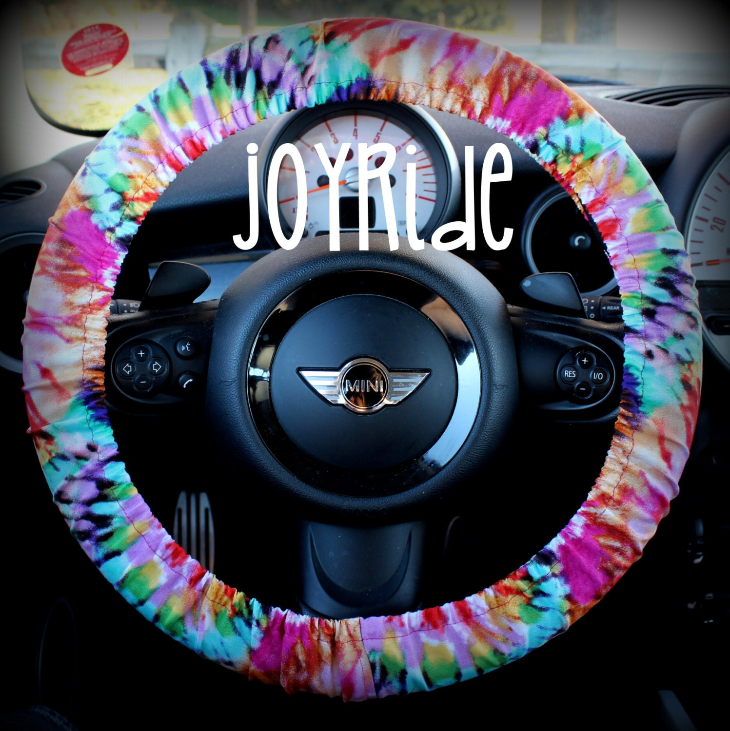 Steering Wheel Cover Tye Dye Rainbow Cute Car Accessories