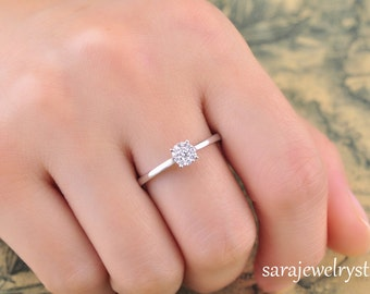 Precious~~~ 14k white gold diamond ring 9 on 1 diamond ring/10 diamonds weight 0.18carat /Anniversary jewelry/Christmas gift/Wedding jewelry