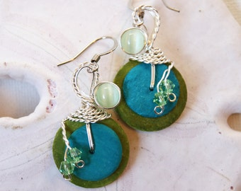 Lime and Turquoise, Wirewrapped Jewelry, Blue and Green Earrings, Coconut Shells, Earrings Blue Green, Bohemian Earrings, Blue Green Jewelry