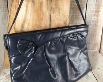 Faux Leather Handbags -Blue Purse -Pleather Purse, pleather bag, faux leather purse -blue clutch bag, blue shoulder bag - blue clutch purse