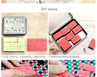 DIY Stamp in Tin Box Set Rubber Stamps Set of 9pcs - Mountain Birds C044