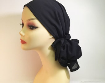 Chemo Head Scarf in a Sheer Black Textured Chiffon~Adjustable Toggle~No Tying Required~Wear it Long or Short #175