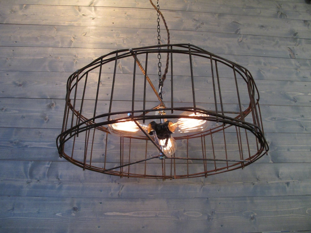 Rustic Chandelier 21  or 25  Diameter Brown Steel Cage - Repurposed Industrial Lighting - Metal Ceiling Fixture - Hanging or Flush Mount & Rustic Chandelier 21 or 25 Diameter Brown Steel Cage - Repurposed ... azcodes.com