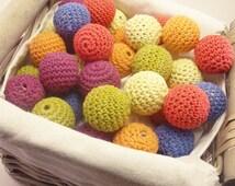 Crochet Balls 6pk - Cotton Beads, Crochet Beads, Cotton Balls Fabric beads crafts DIY Jewellery Decoration Wooden Beads Pack of 6