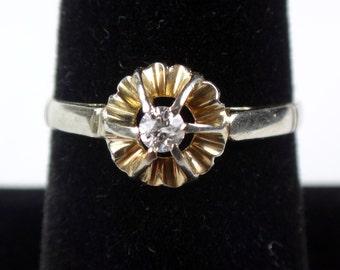 Antique Diamond Ring Vintage Diamond Ring Pre-Engagement Ring Promise Ring 14k Gold Diamond Ring Hallmarked Diamond Solitaire European Cut