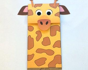 Giraffe Paper Bag Puppet - Downloadable PDF Kid's Craft