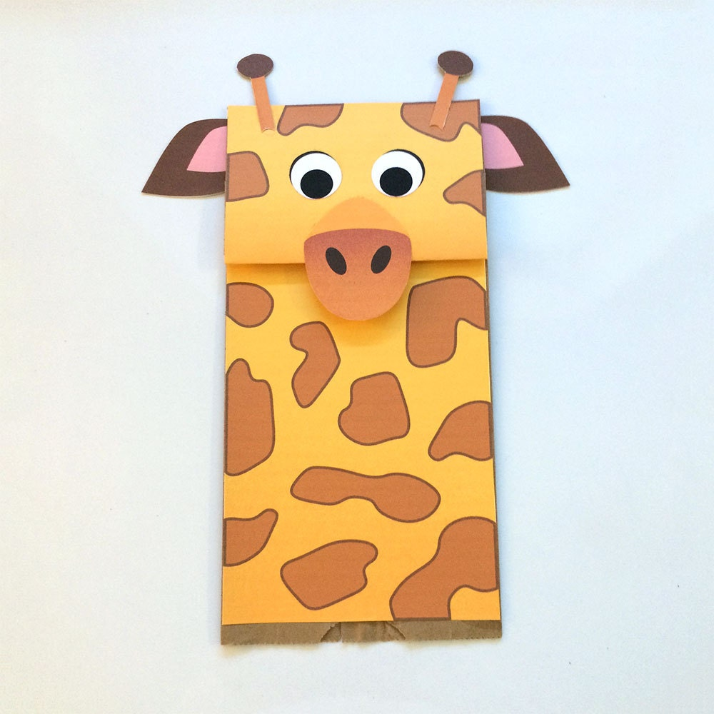 Giraffe paper bag puppet downloadable pdf kid 39 s craft for Brown paper bag crafts for toddlers