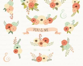 Floral Bouquet Clipart. Floral Clipart. Flowers Clipart. Wedding Invitation. 15 images, 300 dpi. Eps, Png files. Instant Download.