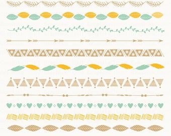 Rustic Ribbons Clipart. Tribal Ribbons Clipart. Hand Drawn Borders. 12 images, 300 dpi. Eps, Png files. Instant Download.