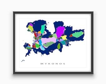 Mykonos Greece, Mykonos Art Map Print, Travel Map Art, Greek Island