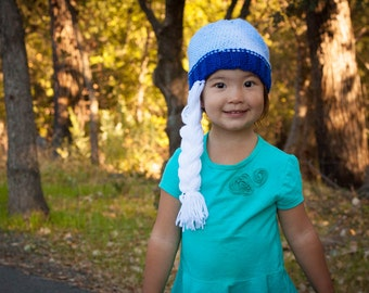 "Blue knit hat, inspired by Queen El sa from Disney's ""Frozen"