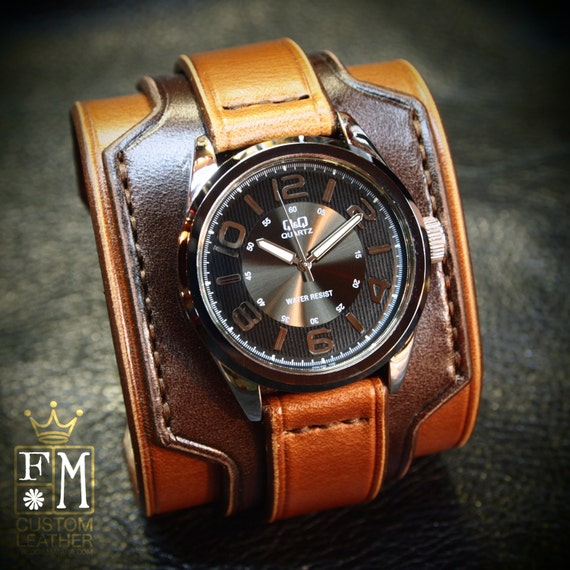 Mens Leather Cuff Watch – Men's Limited Edition Citizen Watch with Handmade Two-Tone Brown Leather Cuff