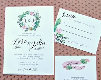 PRINTABLE SUCCULENT WEDDING | Wedding Invitations | Modern | Natural | Floral Wreath - Invitation Template |