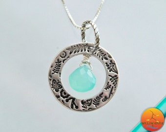 Women's Fine Silver Open Circle Necklace, Handmade Fine Silver Charm on Sterling Silver Chain, Chalcedony center