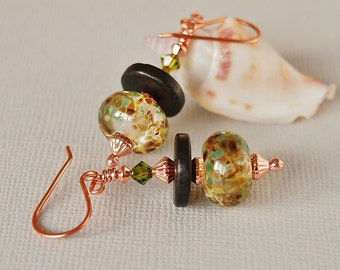 Green Brown Glass Earrings, Artisan Lampwork Bead Earrings, Olive, Pure Copper - EARTH CHILD