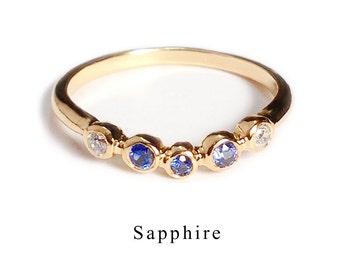 Anniversary ring with Sapphire (K10 September birthstone)