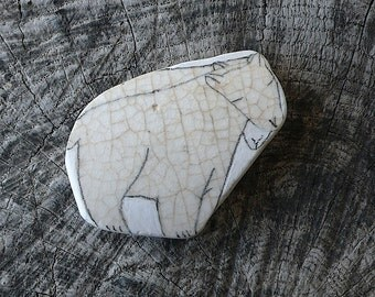 Beach Pottery Polar Bear Twins - Animal Medicine, Healing, Shaman Way, Spirit Animals, Totem, Beautifully Crazed, Crazing