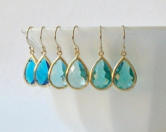 Bright Blue, Aquamarine, Teal Crystal Earrings