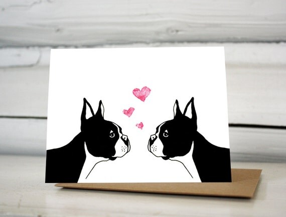Boston Terrier Valentine Love Greeting Card
