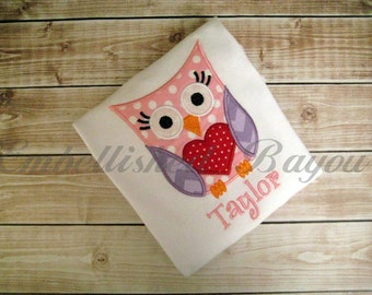 Valentine's Owl with Heart Personalized Appliqued T-shirt for Girls