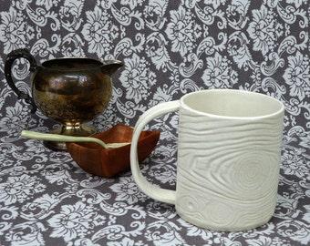 Faux Bois Mug No.1 in Creamy White, Handmade Stoneware Ceramic Cup