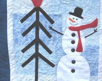Quilted Snowman Wall hanging  Winter wall art Applique on blue