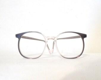 Big Round 80s NOS Eyeglass Frame Crystal Clear & Silver Grey Classic P3 Panto Circular VTG Sunglasses Stripe.SALE mod Bug Eye twin peaks