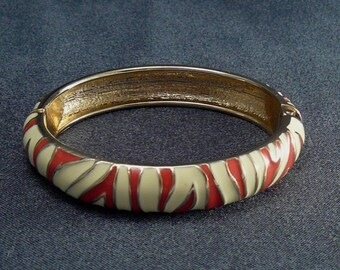 Vintage Red Zebra Enamel Bracelet