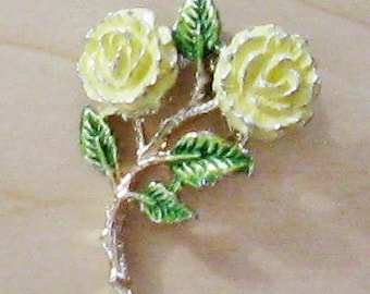 CLEARANCE SALE - Gerry's Yellow Rose Enameled Floral Brooch (B-2-1)