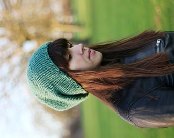 Slouchy Beanie, Womens Slouchy Hat, Mens Slouchy Beanie, Hand Knit Hat, Fall Fashion,Winter Accessories, Fern