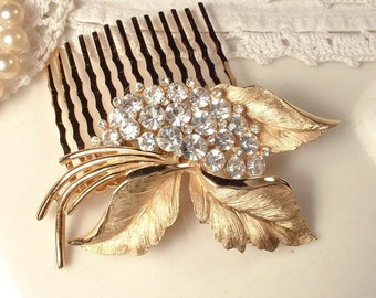 Vintage Crystal Rhinestone Gold Leaf Hair Comb, TRIFARI Brushed Rose Gold Floral Brooch Bridal HairPiece Woodland Rustic Wedding Accessory