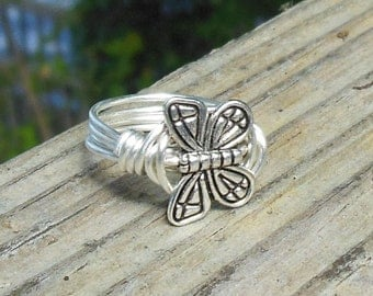 Butterfly silver wire wrapped Ring - SIZE 6.75 , 6 3/4 - metal - handmade - wrap - garden fly animal totem flower accessories accessory