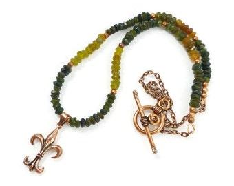 Tourmaline Pendant Necklace, Fleur de Lis Necklace, Copper Tourmaline Necklace, October Birthstone,  Beaded Stone Necklace