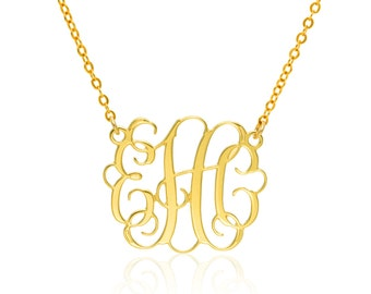 Monogram Necklace 1 inch- 14k Gold Necklace Monogrammed Necklace personalized necklace bridesmaids gift