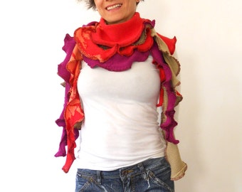 Orange Ruffle Scarf Chunky scarf ecofriendly scarf made of Repurposed Sweaters gifts for her long scarf colorful scarf scarves on sale knit